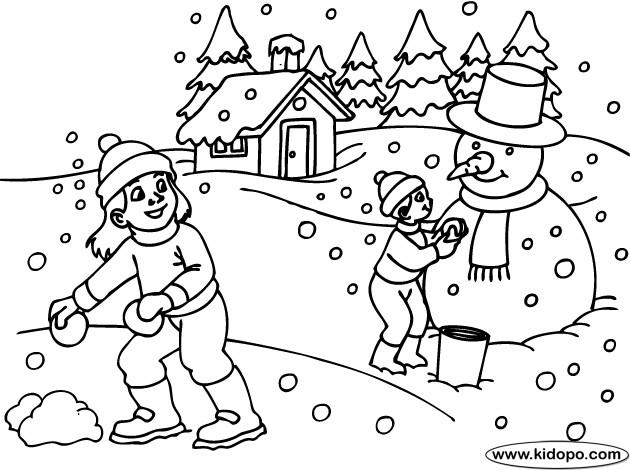 Coloriage et dessins gratuits Paysage neigeux  en Hiver en noir à imprimer