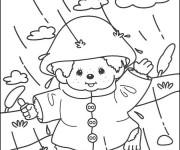 Coloriage Petit enfant sous La Pluie