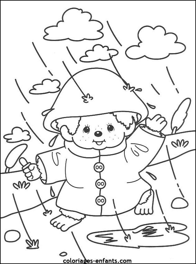 Coloriage et dessins gratuits Petit enfant sous La Pluie à imprimer