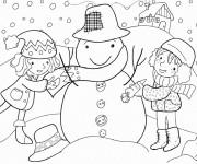 Coloriage Petites filles et L'hiver