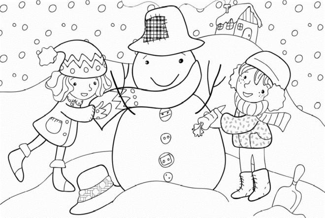 Coloriage et dessins gratuits Petites filles et L'hiver à imprimer