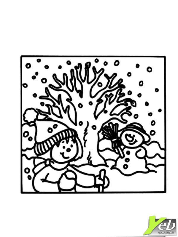Coloriage et dessins gratuits Saison d'Hiver maternelle à imprimer