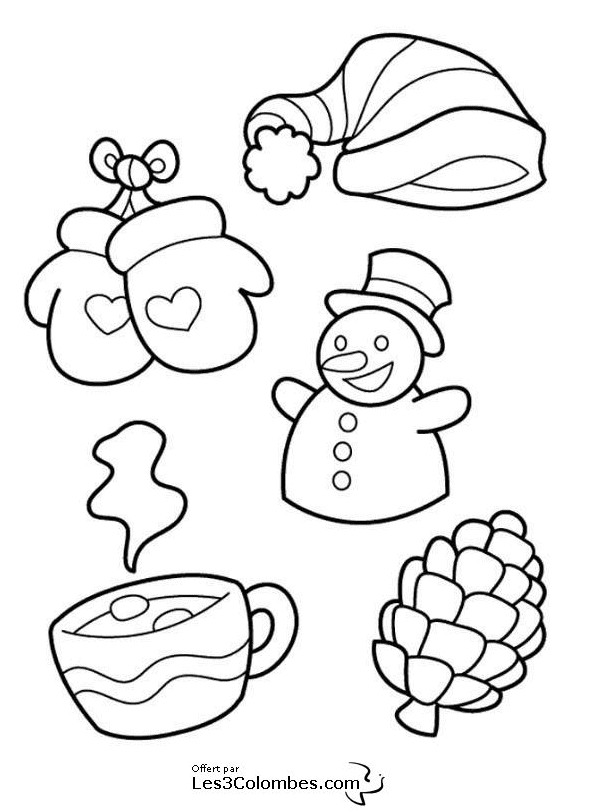 Coloriage et dessins gratuits Saison d'Hiver maternelle pour décoration à imprimer
