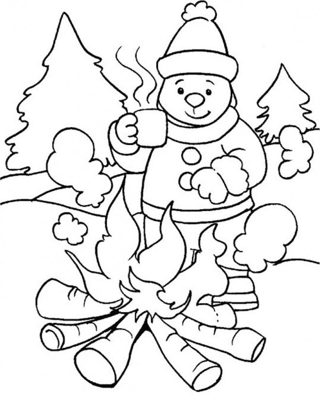 Coloriage et dessins gratuits Saison Hiver qui fait froid à imprimer