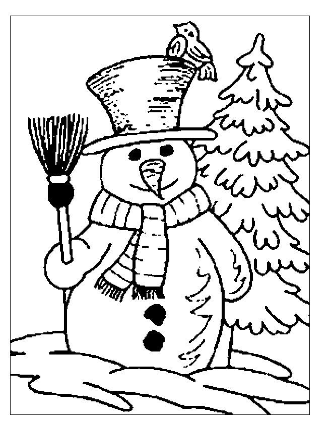 Coloriage et dessins gratuits Saison Hiver stylisé en noir à imprimer