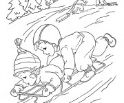 Coloriage Ski Montagne en Hiver