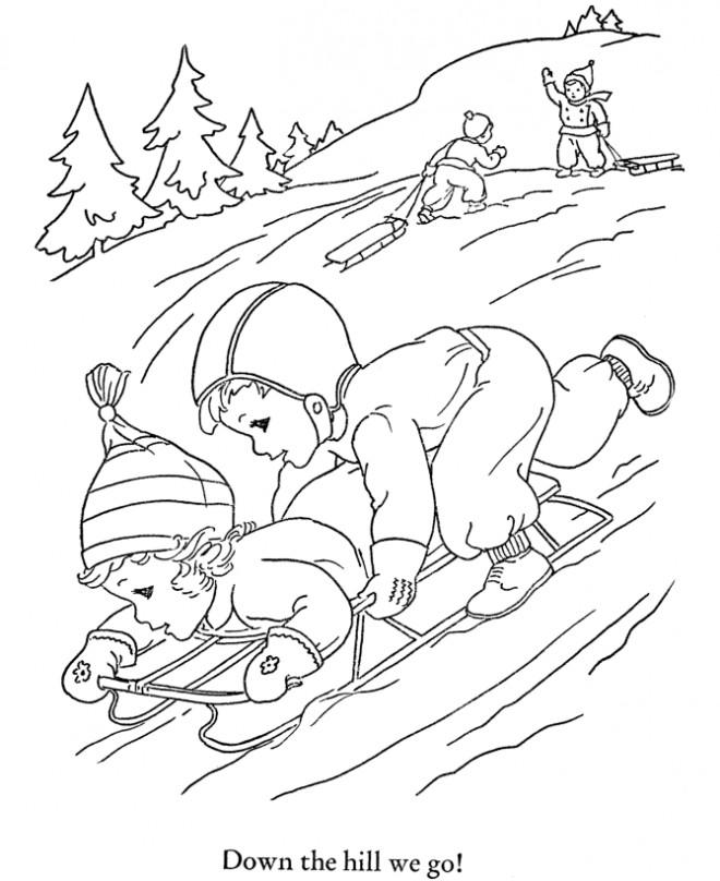 Coloriage et dessins gratuits Ski Montagne en Hiver à imprimer