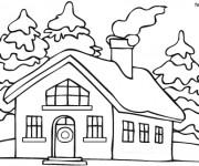Coloriage et dessins gratuit Une maison en Hiver à imprimer