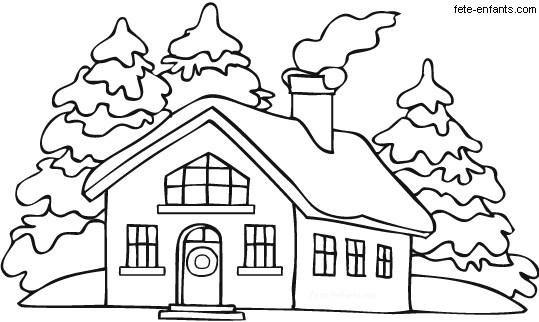 Coloriage et dessins gratuits Une maison en Hiver à imprimer