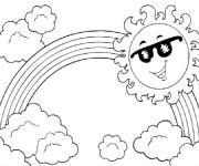 Coloriage et dessins gratuit Arc-en-ciel et le soleil à imprimer