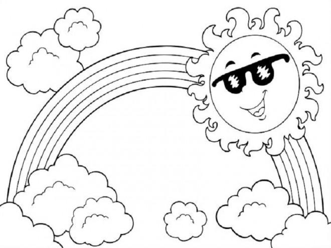 Coloriage arc en ciel et le soleil dessin gratuit imprimer - Dessin de soleil a imprimer ...