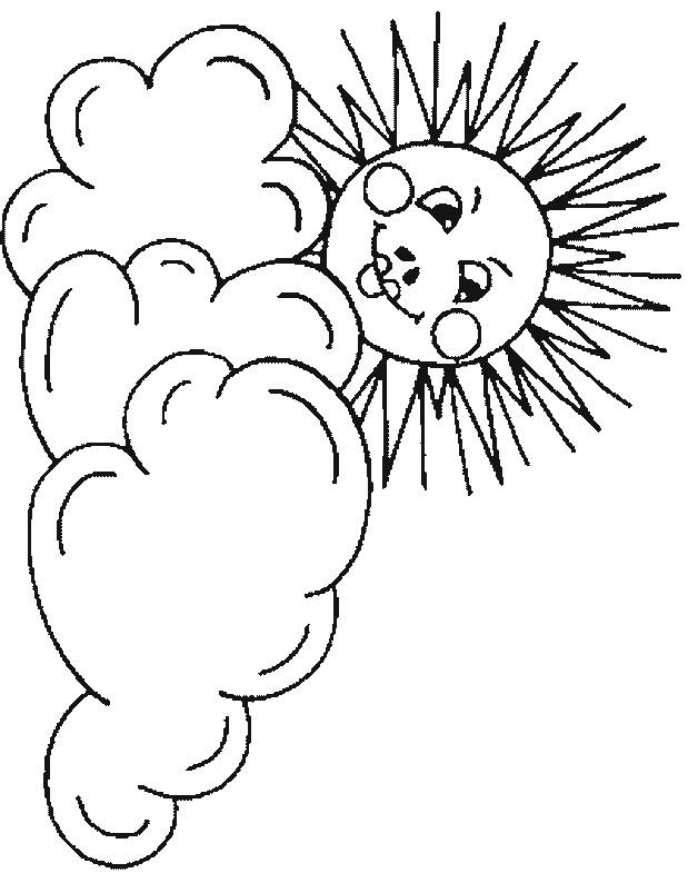 Coloriage la soleil et les nuages dessin gratuit imprimer - Nuage qui souffle ...