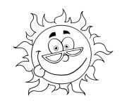 Coloriage et dessins gratuit Le Soleil avec visage à imprimer