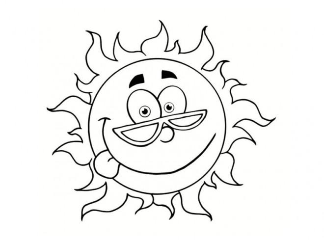 Coloriage et dessins gratuits Le Soleil avec visage à imprimer