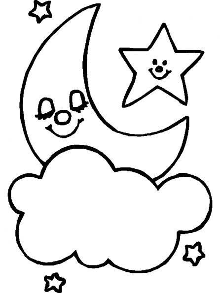 Coloriage nuage et la lune dessin gratuit imprimer - Nuage en dessin ...