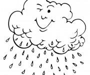 Coloriage et dessins gratuit Nuage qui pleut à imprimer