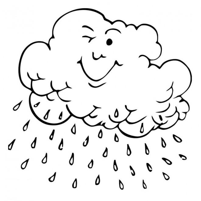 Coloriage et dessins gratuits Nuage qui pleut à imprimer
