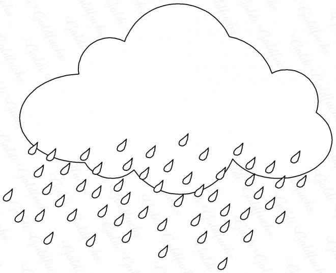 Coloriage et dessins gratuits Nuage qui pleut couleur à imprimer