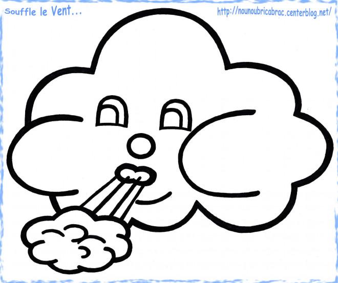 Coloriage et dessins gratuits Nuage souffle vent à imprimer