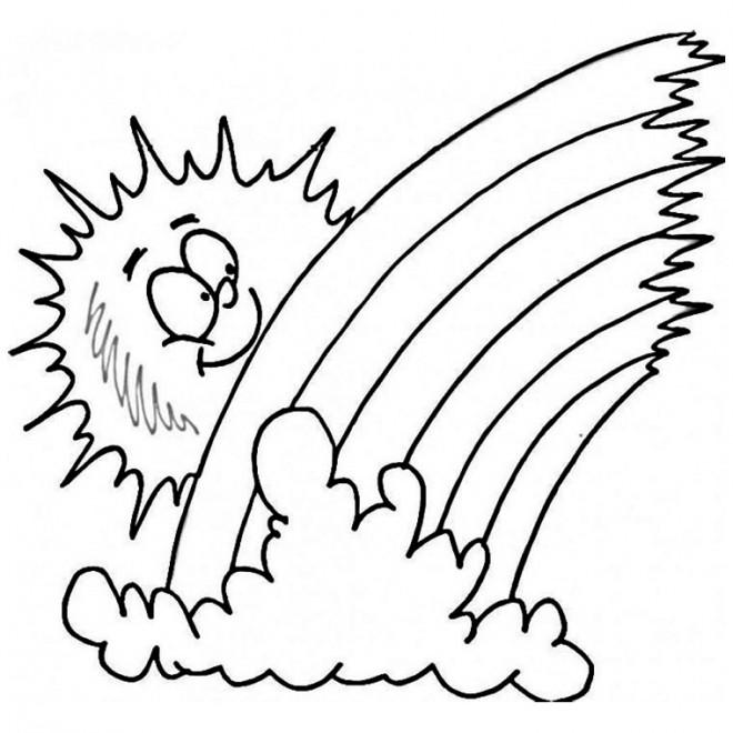 Coloriage et dessins gratuits Soleil Arc en ciel à imprimer