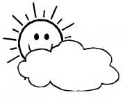 Coloriage et dessins gratuit Soleil derriere les nuages à imprimer
