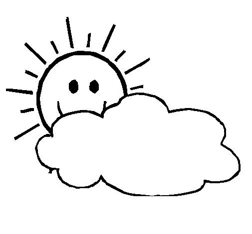Coloriage soleil derriere les nuages dessin gratuit imprimer - Nuages dessin ...