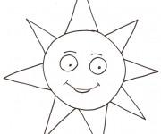Coloriage et dessins gratuit Soleil en train de sourire à imprimer