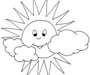 Coloriage et dessins gratuit Soleil et Nuages à imprimer