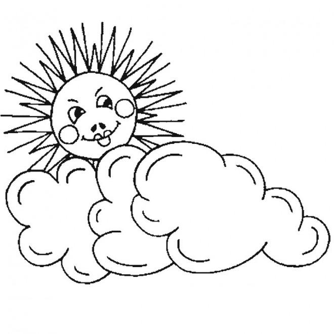 Coloriage soleil nuage crayon dessin gratuit imprimer - Dessin de soleil a imprimer ...