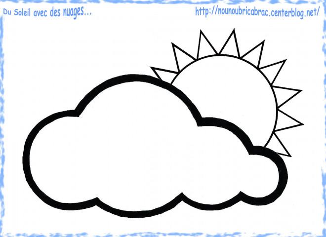 Coloriage Soleil Nuage En Printemps Dessin Gratuit à Imprimer
