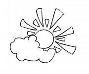 Coloriage et dessins gratuit Soleil Nuage facile à imprimer