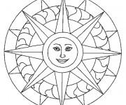 Coloriage Mandala Soleil souriant