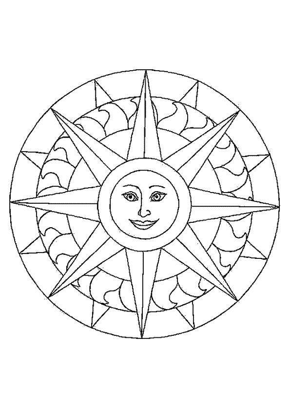 Coloriage et dessins gratuits Mandala Soleil souriant à imprimer