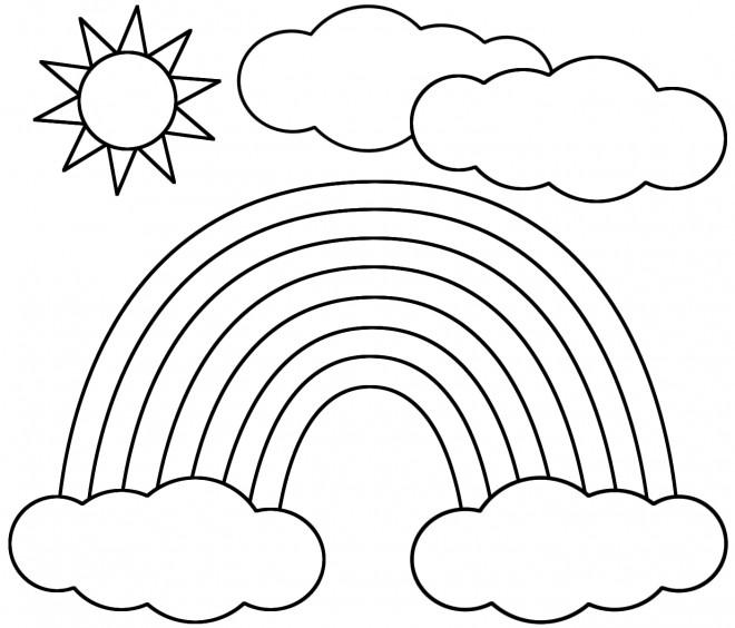Coloriage et dessins gratuits Soleil après la pluie à imprimer