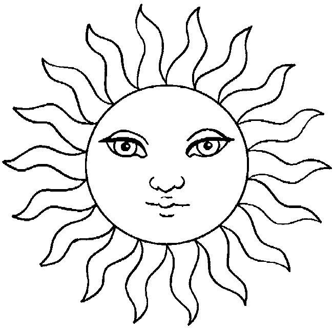 Coloriage et dessins gratuits Soleil avec beaux yeux à imprimer