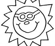Coloriage Soleil ayant le visage  humoristique