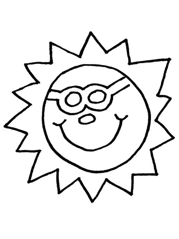 Coloriage et dessins gratuits Soleil ayant le visage  humoristique à imprimer