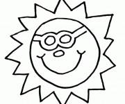 Coloriage Soleil dans le ciel facile