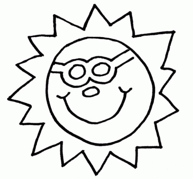 Coloriage et dessins gratuits Soleil dans le ciel facile à imprimer