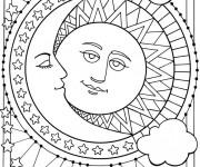 Coloriage Soleil et Lune mandala