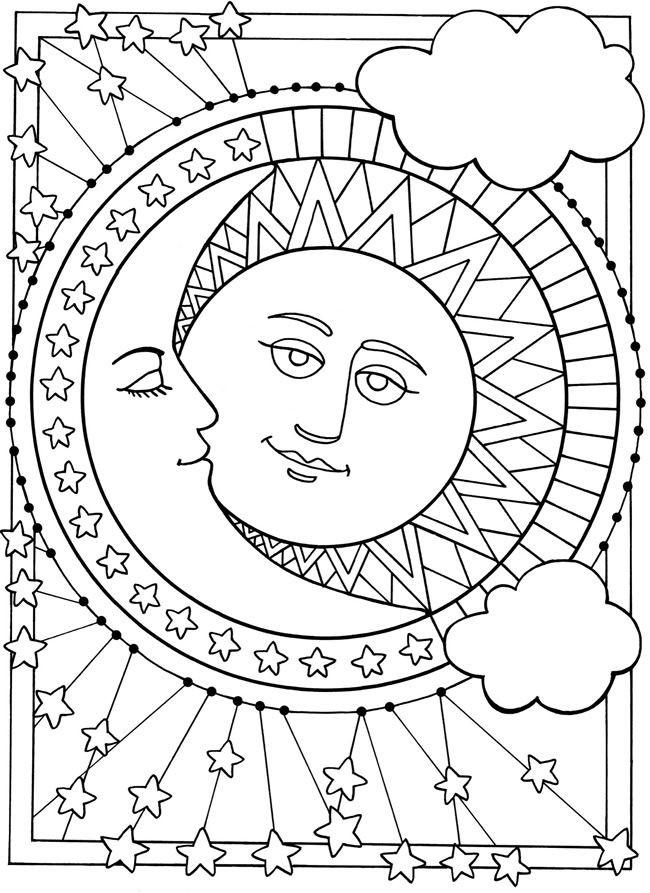 Coloriage et dessins gratuits Soleil et Lune mandala à imprimer