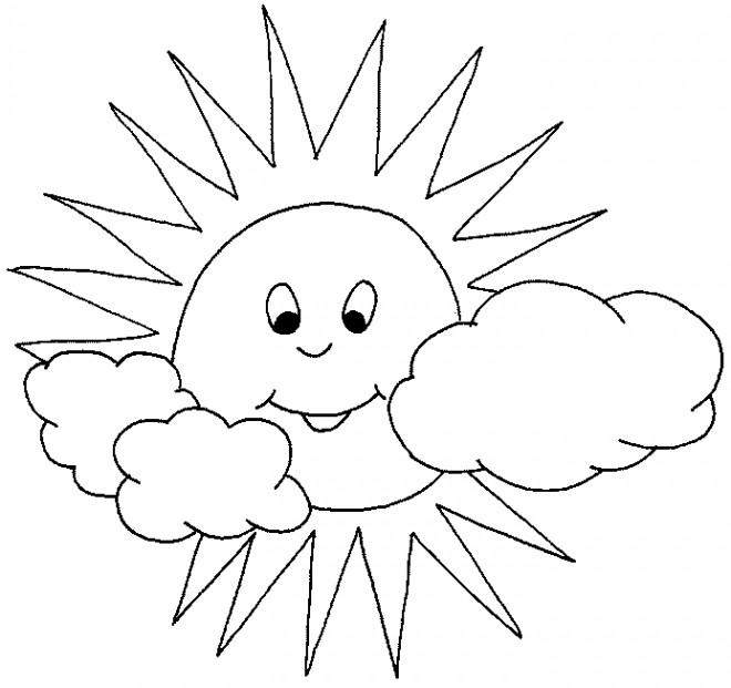 Coloriage soleil et nuages dessin gratuit imprimer - Dessin de soleil a imprimer ...