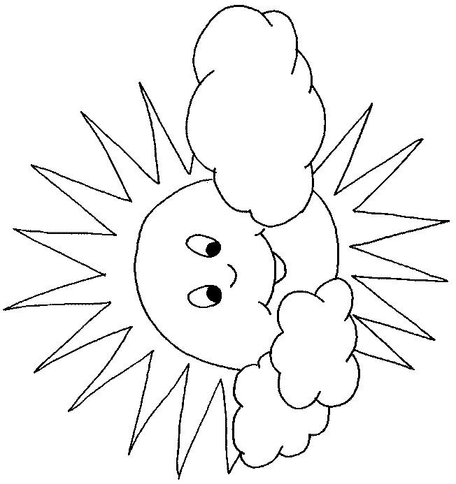 Coloriage et dessins gratuits Soleil et nuages stylisé à imprimer