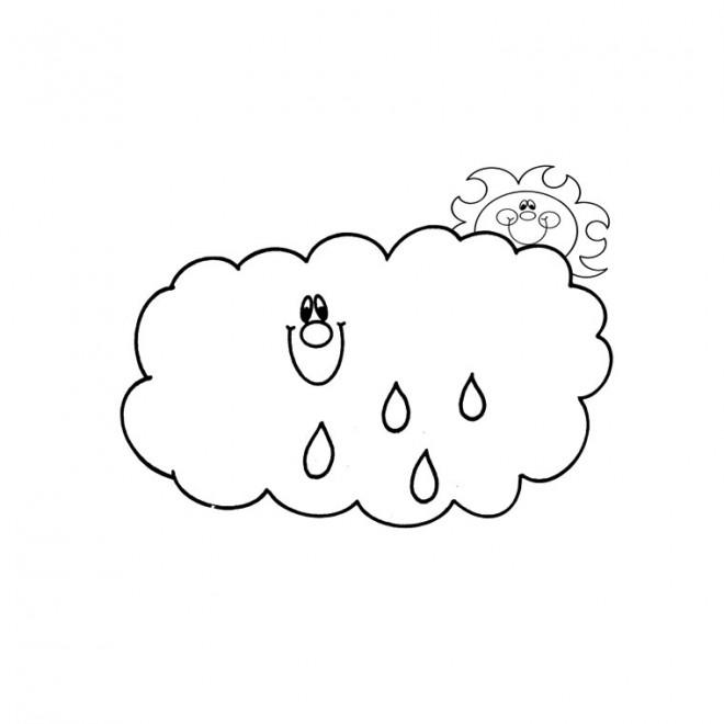 Coloriage et dessins gratuits Soleil et Pluie à imprimer