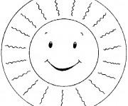 Coloriage Soleil et rayons pour enfant