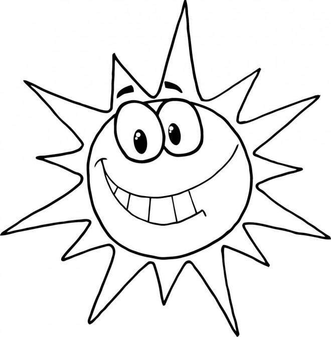 Coloriage et dessins gratuits Soleil humoristique à imprimer
