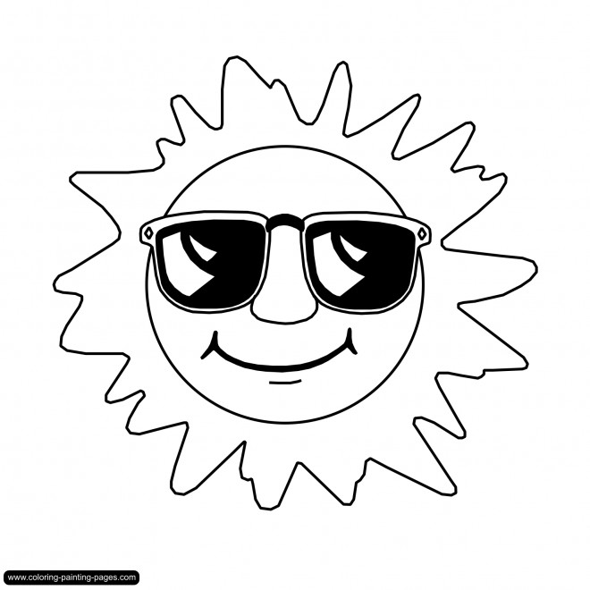 Coloriage et dessins gratuits Soleil portant des lunettes solaires à imprimer