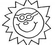 Coloriage Soleil porte des lunettes
