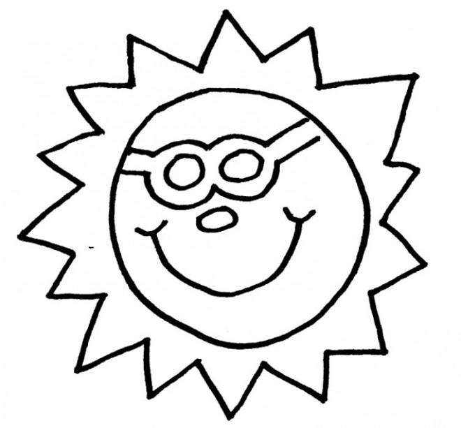 Coloriage et dessins gratuits Soleil porte des lunettes à imprimer