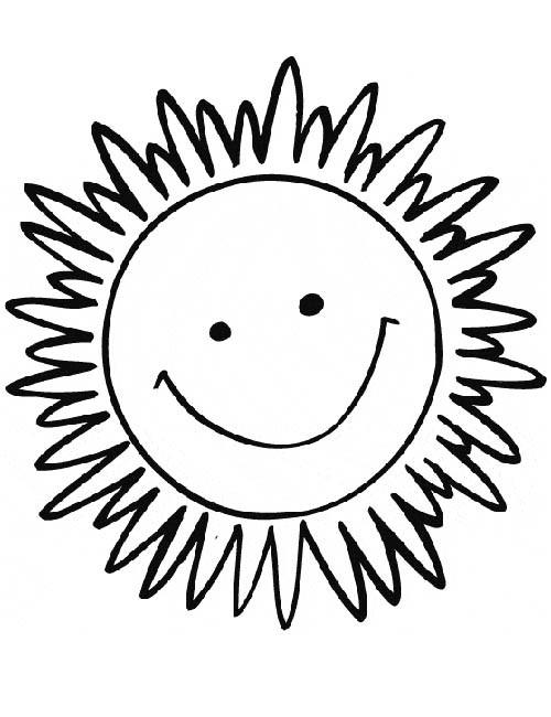 Coloriage et dessins gratuits Soleil qui sourit en couleur à imprimer